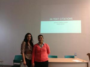 Deniz and Ceren giving a presentation on Academic Writing